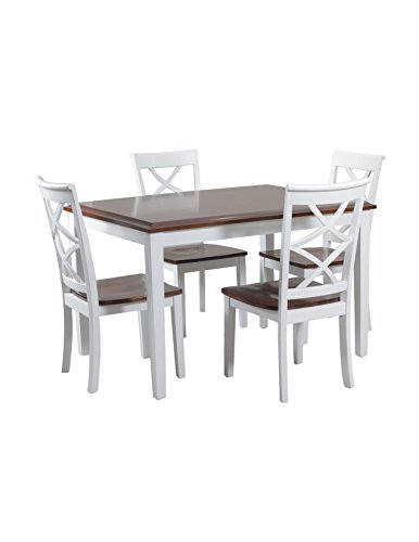 Powell Cherry Chair - Powell 14D2040 5 Piece Harrison Dining Set, Cherry/White