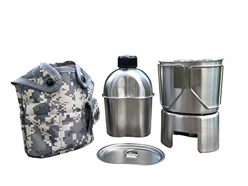 Jolmo Lander Edelstahl US Feldflasche Set,US Militär komplettes Kochset mit Feldflasche1.2L,Becher 0.8L, Kocher,Hülle