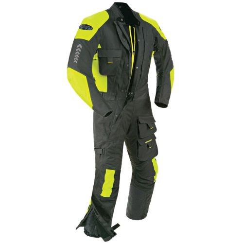Joe Rocket Survivor Men's Textile Touring Suit (Black/Hi-Viz Neon, Medium) ()