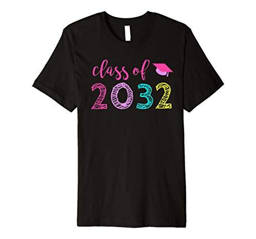 First Day of Kindergarten Girls School Gift Class of 2032 Premium T-Shirt (Best Class T Shirt Design)