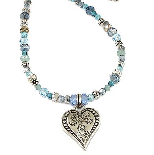 (Brighton Ophelia Jewels Czech Glass Heart Blue Pendant Necklace)