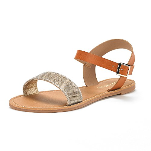 Flat Toes DREAM Strap Summer Band Flexible One Sandals New Ankle GOLD GLITTER PAIRS Women's Cute Open TAN Hoboo HwqX74w