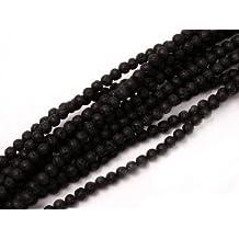 4mm Round Black Lava Rock Beads Strand 15 Inch Jewelry Making Beads
