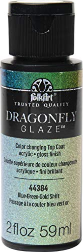 FolkArt 44384 Dragonfly Glaze Multi-Surface Paint, Blue-Green-Gold