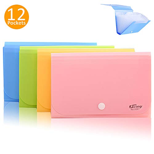 Expanding File Folder,izBuy Subdivision Index Accordion File Folder Mini Organizer PP Wallet for Cards,Coupons, Receipt,Tax Item or Changes,7x4.5 Inches,12 Pockets with Tabs and Snapper,Color Random ()