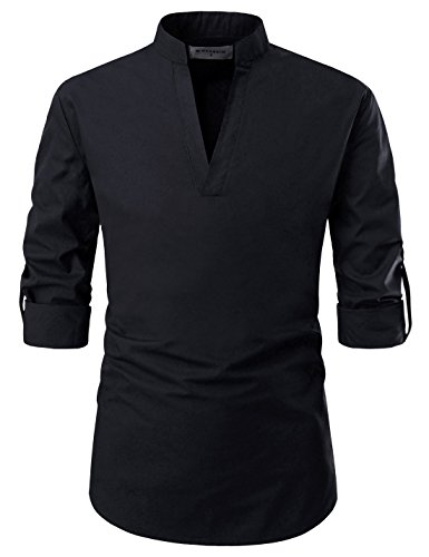 (NEARKIN NKNKN382 Mens Classic Fit Roll-up Sleeve Mandarin Collar V Neck Casual Shirts Black US M(Tag Size M))
