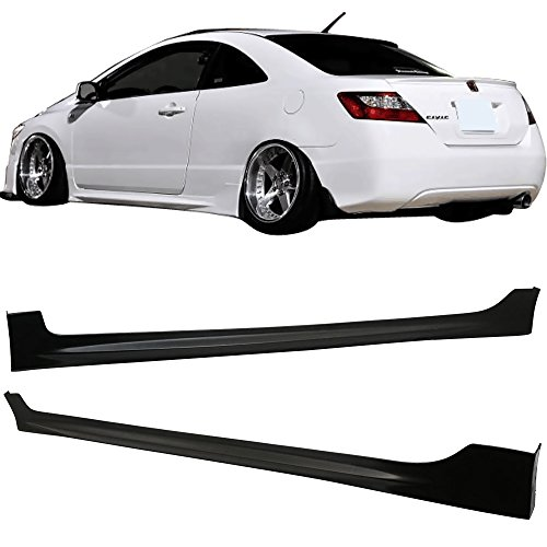 - Side Skirts Fits 2006-2011 Honda Civic | Black PU Sideskirts Rocker Moulding Trim Bottom Line by IKON MOTORSPORTS | 2007 2008 2009 2010