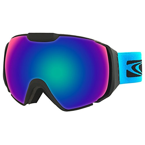 MOTOEYE Ski Goggles - Over Glasses Design Snow / Snowboard Goggle for Men,Women & Youth ( 100% UV Protection + Long-time Anti-fog + Mirrored ) (Dark - Sunglasses Triple H