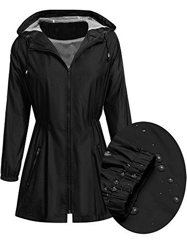 Womens Outdoor Waterproof Lightweight Hoodie Windbreaker Long Utility Anorak Jacket, Black, Small Black Fitted Jacket