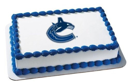 8 Round NHL Vancouver Canucks Hockey Logo Edible Image Cake Cupcake Topper