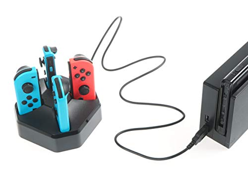 AmazonBasics Charging Station Dock for 4 Nintendo Switch Joy-con Controllers - 2.6 Foot Cable, Black