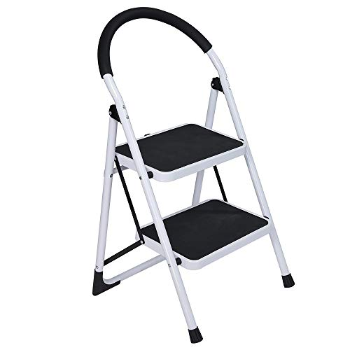 (Anti-Slip Folding 2-Tier Step Stool Steel Ladder with Handle Chair, Adagod Solid Wide Pedal Reinforced Metal Household Stool)
