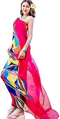 937ec5f879a83 Amazon.com: Sexy Women Chiffon Beach Swimwear Sarong Wrap Dress Bikini Cover  Up Scarf (Hot Pink): Home & Kitchen