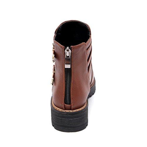 AgooLar Damen Rund Zehe Hoher Absatz Reißverschluss Stiefel, Braun-Reißverschluss, 35