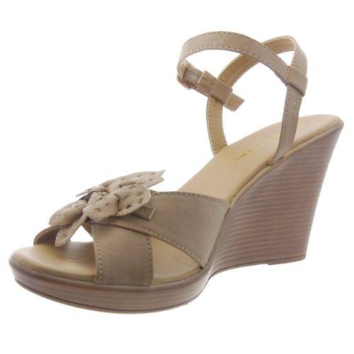 Kickly - Chaussure Mode Sandale Plateforme Plateforme Cheville femmes fleurs Talon compensé 9 CM - Taupe