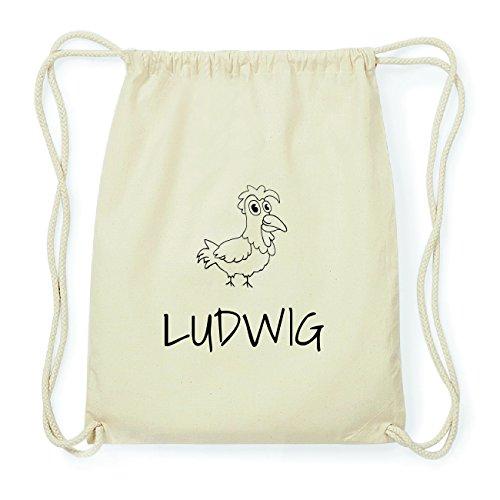 JOllipets LUDWIG Hipster Turnbeutel Tasche Rucksack aus Baumwolle Design: Hahn osoDKD