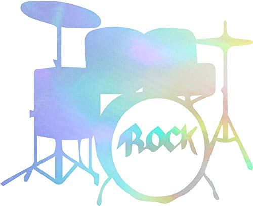 (drums, percussion, rock and roll, rock, music (HOLOGRAM) (set of 2) Premium Waterproof Vinyl Decal Stickers for Laptop Phone Accessory Helmet Car Window Bumper Mug Tuber Cup Door Wall Decoration)