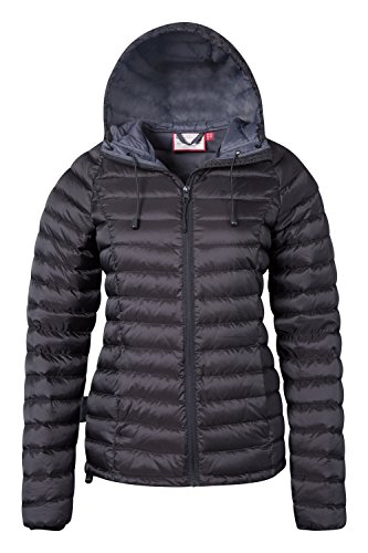 Ladies Weather Warehouse Mountain Horizon Ideal for Womens Black Ripstop in Jacket Resistant Hood Cold Water Winter Camping Down with Hydrophobic Jacket Coat CvqFdWRq