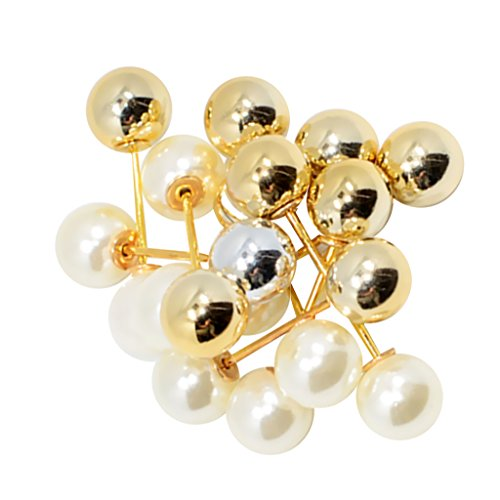 Brooch Double (Jili Online 10pcs Pearl Pins Women's Crystal Wedding Bridal Brooch Clothing Buckle Jewelry - As show, 10x35 mm)