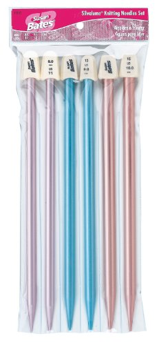 Coats & Clark Silvalume 11193 Knitting Needles, Straight, 10-Inch