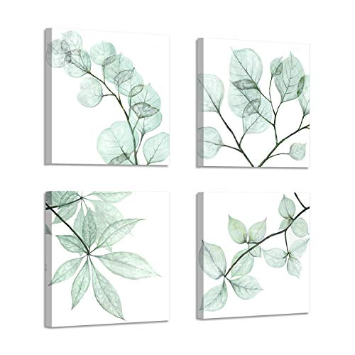- Natural Leaf Artwork Floral Pictures: Twig Graphic Art Print on Canvas for Bathroom Wall ( 12