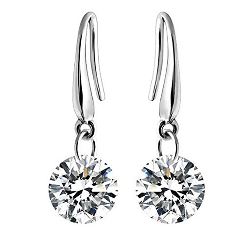GERGER BO Natural Diamond Stud Round Brilliant Silver Simple Earrings Couple