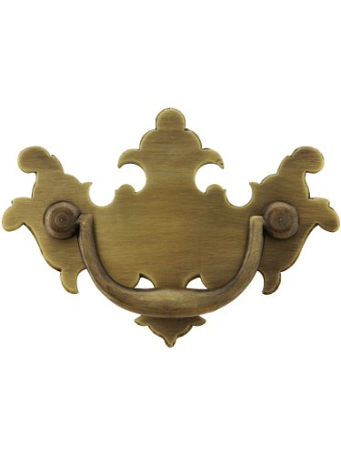 "Colonial Chippendale Brass Bail Pull - 2"" Center-to-Center in Antique Brass"