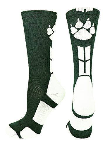 MadSportsStuff Wild Paws Crew Socks (Dark Green/White, Small)