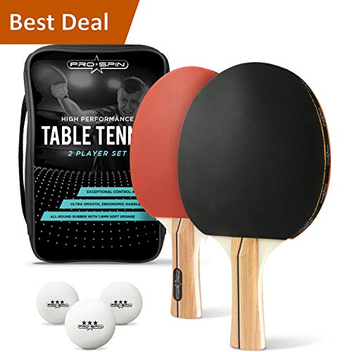 (PRO SPIN Ping Pong Paddle Set - Includes 2 Performance Paddles/Rackets, 3 White Table Tennis Balls (3-Star), Premium Storage Case)