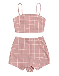 Floerns Women's Spaghetti Strap Plaid Crop Top and Overlap Shorts Set