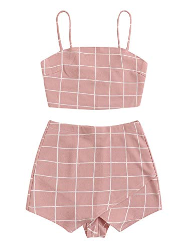 - Floerns Women's Spaghetti Strap Plaid Crop Top and Overlap Shorts Set Pink S