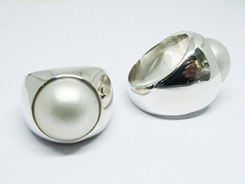 silver box ring with white mabe pearl with sterling silver ring, white mabe pearl ring, silver ring with 15 mm white mabe pearl, pearl ring, silver ring with pearl,