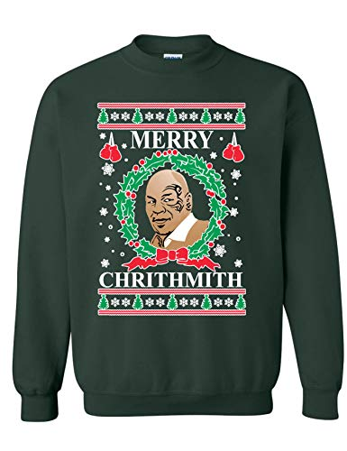 Allntrends Adult Sweatshirt Merry Christhmith Mike Tyson Ugly Xmas (L, Forest Green)