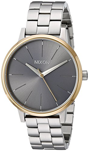 Nixon Kensington Silver/Gold/Gray Casual Designer Women's Watch (37mm. Gold & Gray Face/Silver Stainless Steel Band)