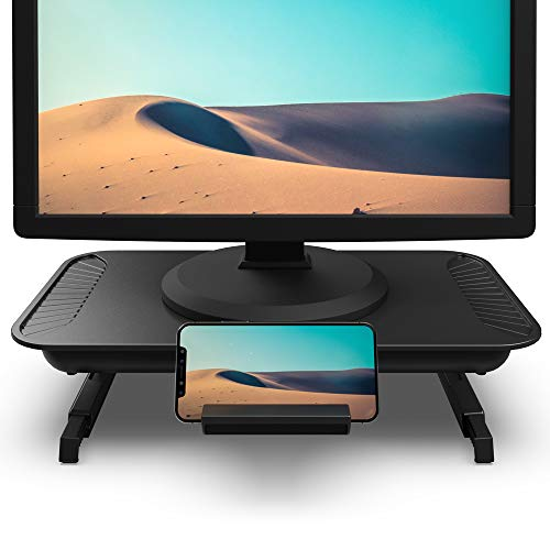 Foldable Monitor Stand Riser, Klearlook Multi-Function Computer Monitor Stand with 2 Adjustable Height Compatible with Tablet Printer Laptop PC with Storage Drawer & Phone Stand Holder
