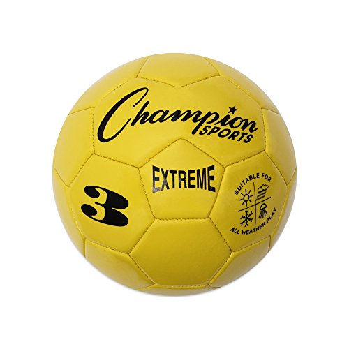 - Champion Sports Extreme Series Soccer Ball, Size 3 - Youth League, All Weather, Soft Touch, Maximum Air Retention - Kick Balls for Kids Under 8 - Competitive and Recreational Futbol Games, Yellow