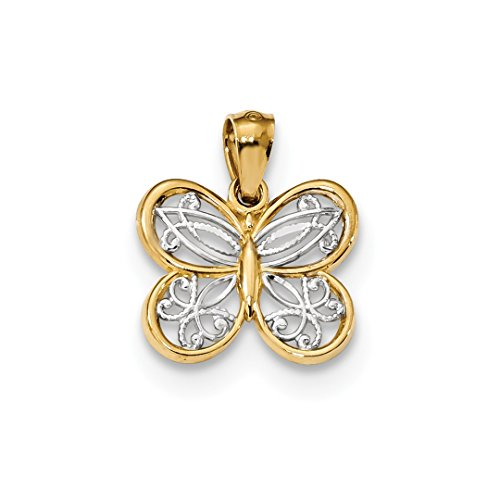 ICE CARATS 14kt Yellow Gold Butterfly Pendant Charm Necklace Animal Fine Jewelry Ideal Gifts For Women Gift Set From Heart 14kt Gold Butterfly Charm Pendant