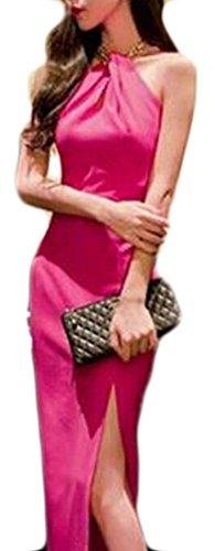 Sexy Donne Del Halter Sottile Jaycargogo Collo Del Forma Maxi In Spaccatura Partito Colore Solido Rosa Abiti Rossa g5nnFqAw