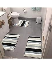 Vaukki 3 Pieces Striped Soft Bath Rugs Set Non Slip Shaggy Microfiber Bath Shower Mats Set Luxury Plush Absorbent Machine Washable Spa Rugs for Bathroom, Tub and Shower