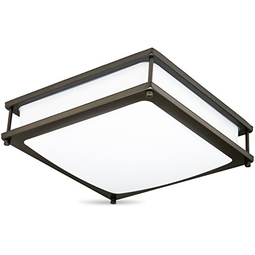 Green Beam Clarity 14 inch LED Square Dimmable Ceiling Light and Fixture, Rubbed Bronze Finish, Flush Ceiling Mount, 1400 Lumens Uses only 20 Watt 4000K (Natural Light) - UL Listed-Energy (Dimmable Fluorescent Light Fixtures)