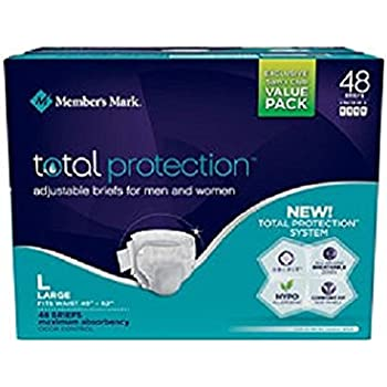 Members Mark Total Protection Adult Briefs for Men & Women, Large (48 ct.)