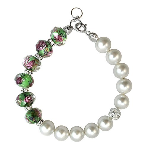Bracelet Made with Light Green Faceted Lampwork Glass and Swarovski Crystal Elements 7,8,9
