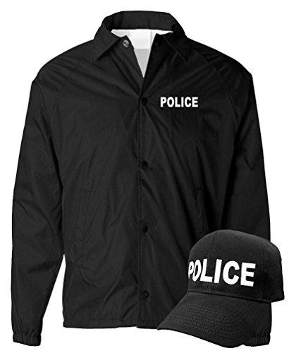 Law Enforcement Coaches (POLICE - law enforcement officer cop - COACH JACKET + HAT COMBO, S, Black)