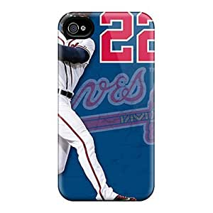 Excellent Iphone 4/4s Case Tpu Cover Back Skin Protector Atlanta Braves