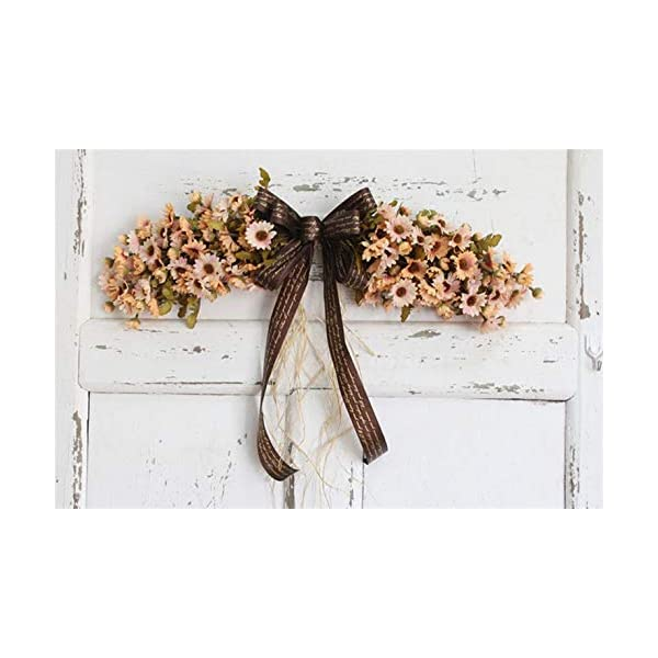 Liveinu Artificial Daisy Floral Swag for Front Door Flowers Arrangements Wedding Table Centerpieces Door Swag for Decor 21.8 x 4.9 Inch Pink Swag Wreath