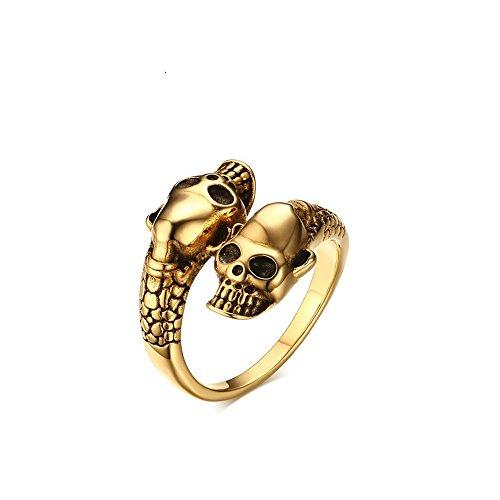 Sumoleo Cute Vintage Skull Adjustable Open Gold Plated Ring,size (Skull Adjustable Ring)