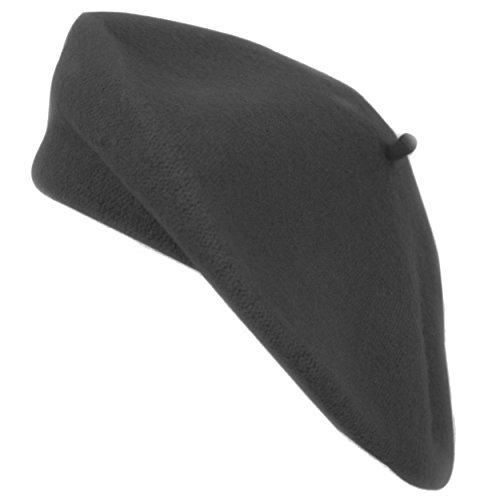 boxed-gifts Nollia Ladies Solid Colored French Wool Beret (Black) -