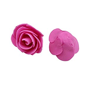 Ewandastore 100 Pcs 1.2 Inch Fake Rose Heads Real Looking Artificial Roses Flowers Heads for Wedding Bouquets Centerpieces Party Baby Shower Home DIY Decorations(Hot Pink) 10