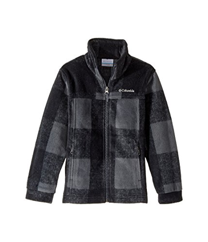Columbia Big Boys' Zing lll Fleece Jacket, Graphite Buffalo Plaid, Large