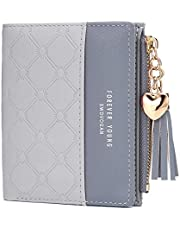 JOSEKO Tassel PU Leather Multi-Slots Short Wallet Slim Card Holder Purse for Women and Ladies with Zipper Pocket Black